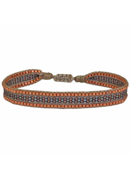 Beaded Bracelet - Beige / Copper