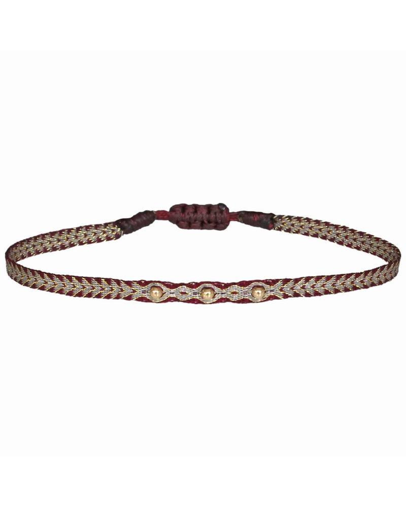 Gold beads argentinas bracelet - Bordeaux