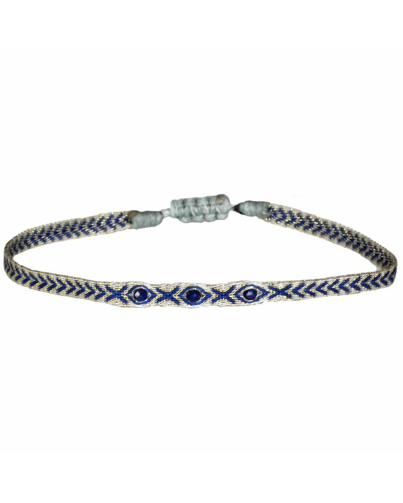 Triple semi-precious argantinas - Lapis Lazuli
