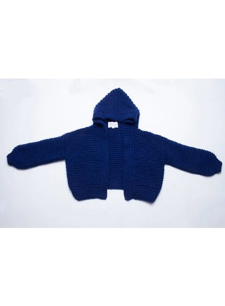 I Love Mr Mittens Cable Hooded Bomber wool - Navy