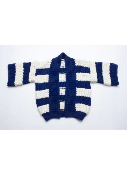 I Love Mr Mittens Bell Sleeve Striped Cardigan wool - Navy/Cream