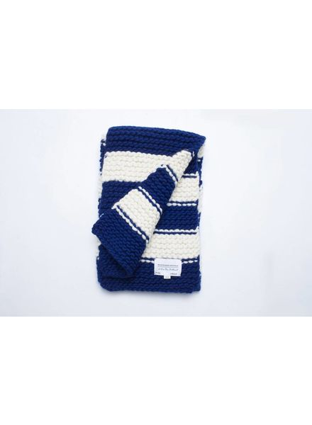 I Love Mr Mittens Striped Billie Scarf Wool - Navy/Cream