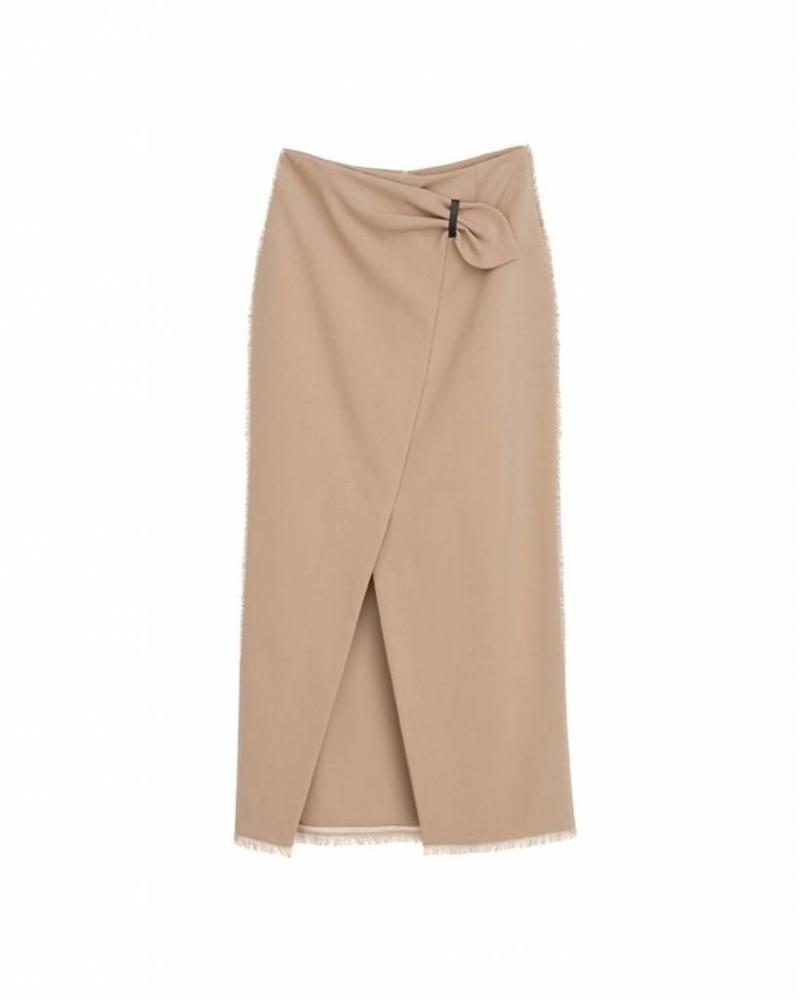 Nanushka Muse Wrap front pencil skirt - Camel