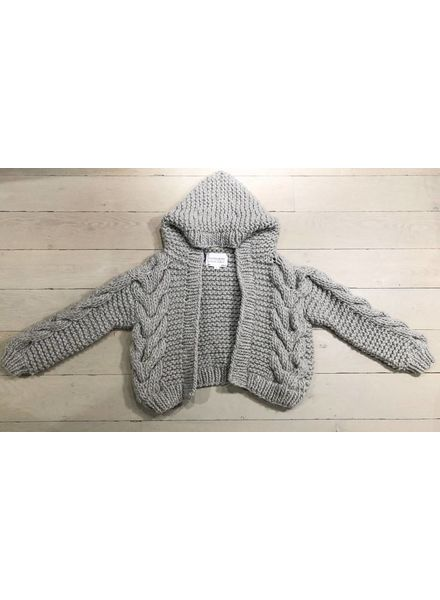 I Love Mr Mittens Cable Hooded Bomber Wool - Light Grey