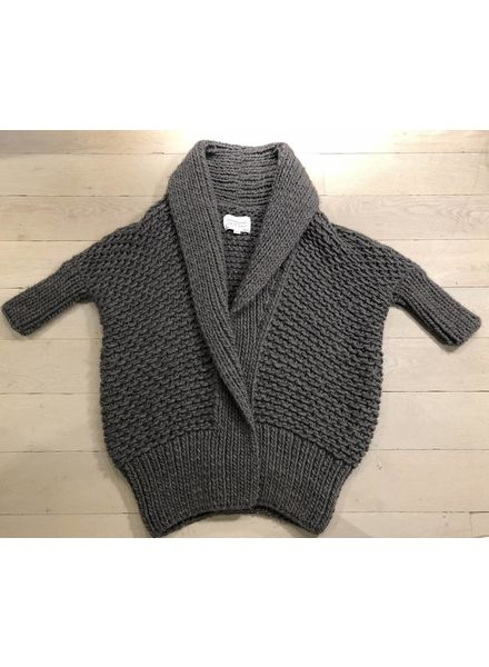 I Love Mr Mittens Pearl stitch cardigan wool - Charcoal
