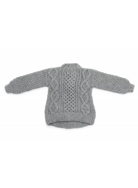 I Love Mr Mittens Aran crew neck wool - Light Grey