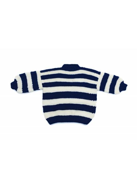 I Love Mr Mittens Striped Crew Neck Jumper Wool - Navy/Cream