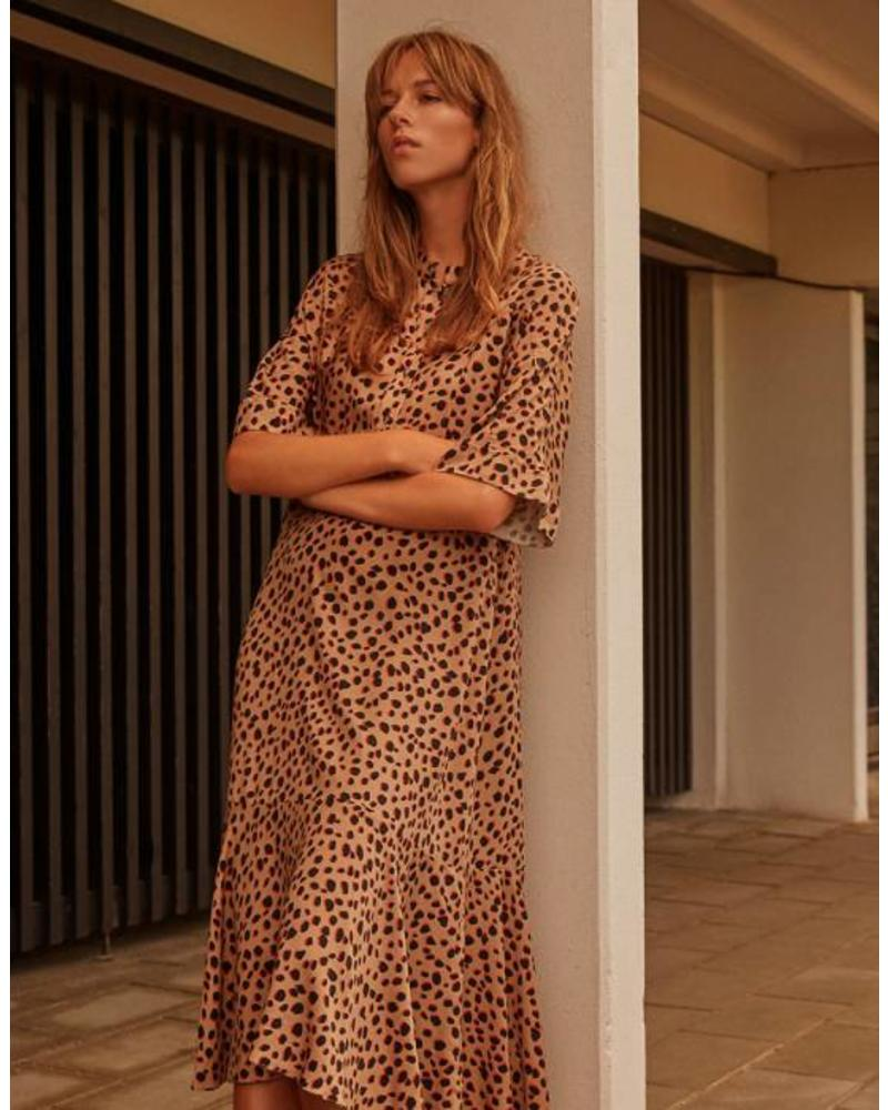 NORR Lilo dress - Camel/red dots