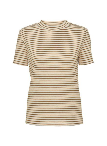 NORR Rita S/S tee - White/brown stripe