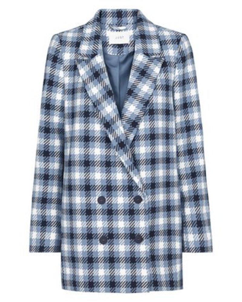 Just Female Holmes blue check blazer - Mid blue check