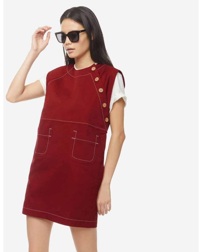 Maison Kitsuné Contrasted Topstitched Gaia Dress - Red