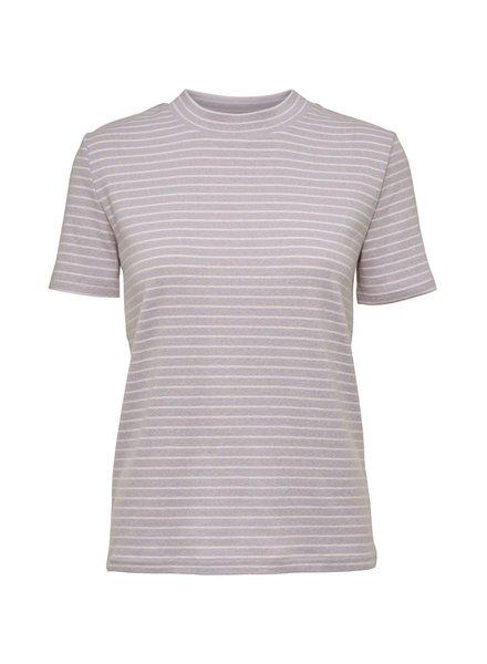 NORR Rita S/S tee - Lilac/white stripe