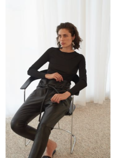 Le Brand High waist leather pants - Black