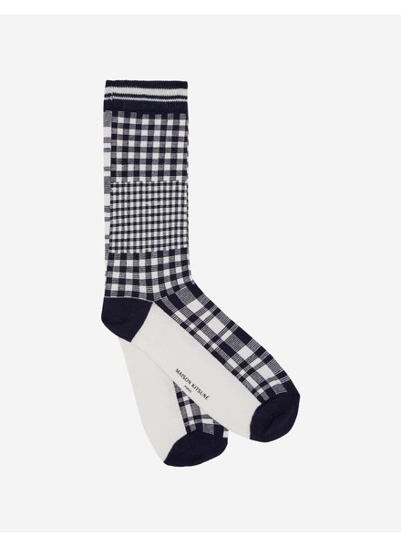 Maison Kitsuné Large Check Socks - Navy
