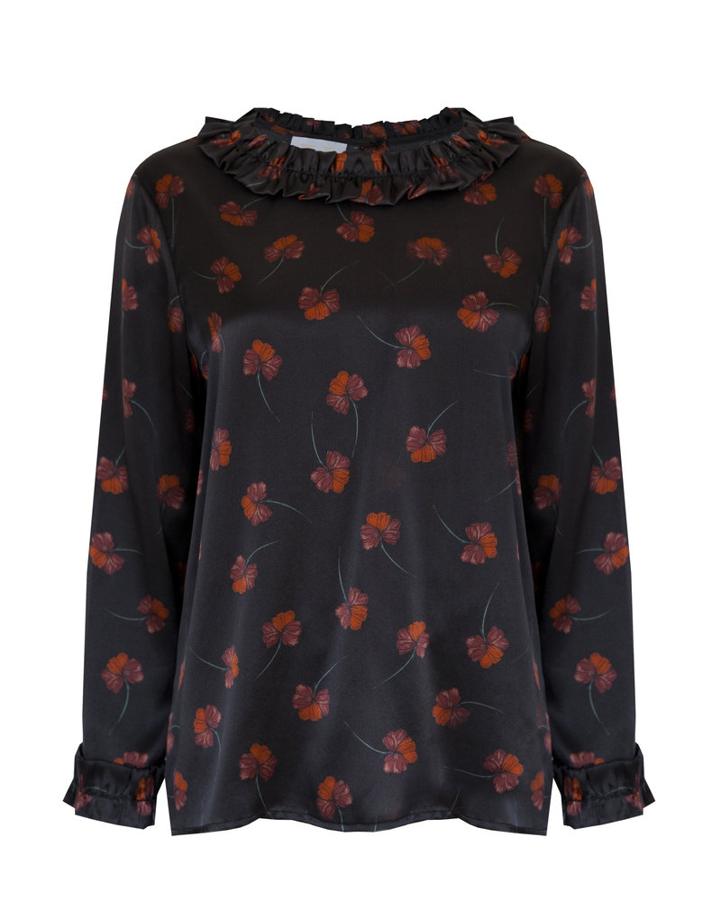 Kelly Love Night Garden Blouse - Black Floral