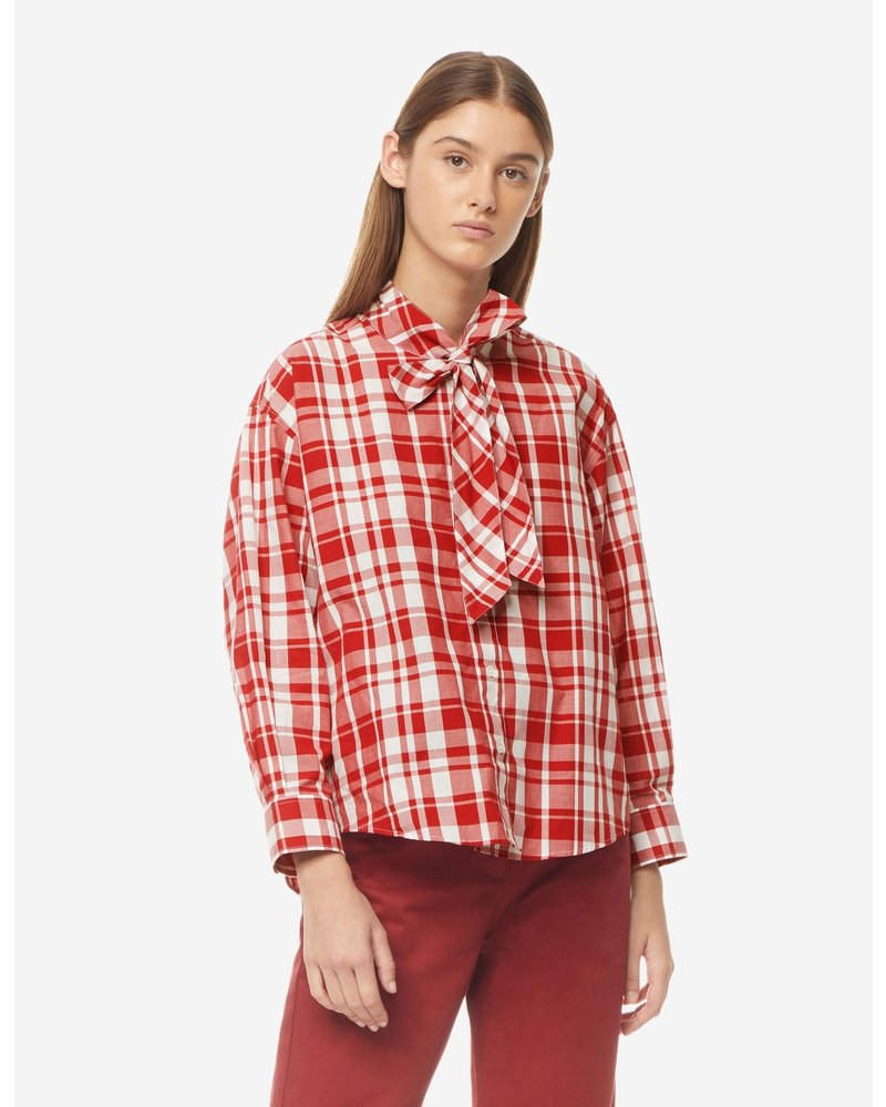 Maison Kitsuné Axel Pussy Bow Shirt - Red Check