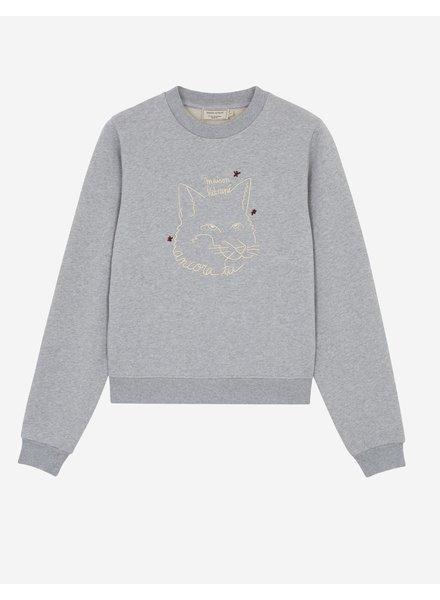 Maison Kitsuné Sweatshirt Fox Drawing - Grey Melange