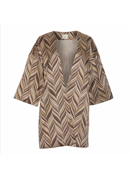 Julie Fagerholt Bria cape - Brown/White