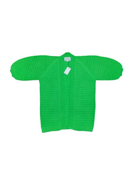 I Love Mr Mittens Balloon Sleeves Long Cardigan Cotton - Greenery