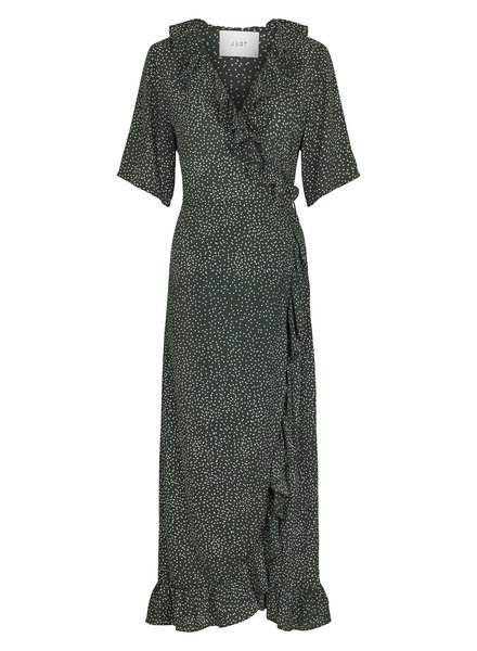 Just Female Image maxi wrap dress - Green dot