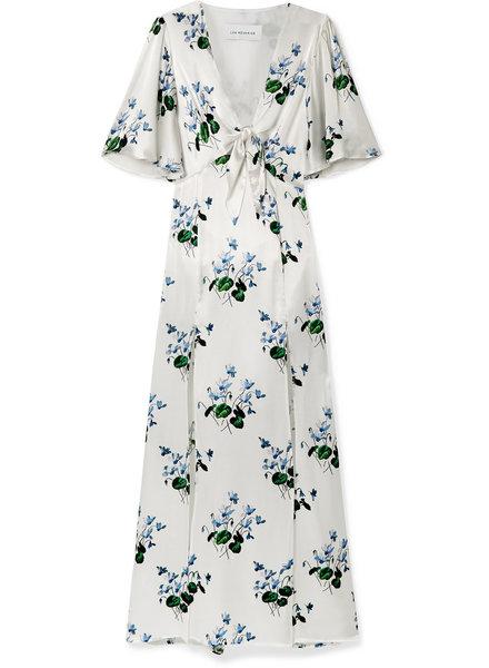 Les Reveries Tie front Flutter sleeve dress - Blue Daffodil