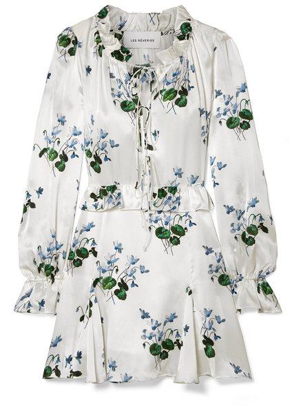 Les Reveries Ruffle picnic Mini dress - Blue daffodil