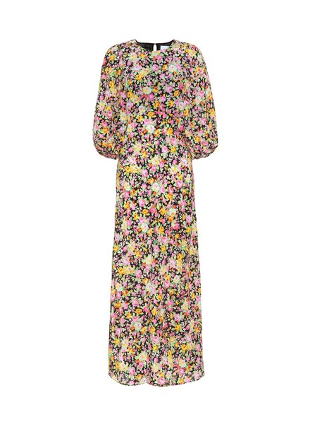 Les Reveries Puff sleeve Bias dress - Pyschedelic meadow