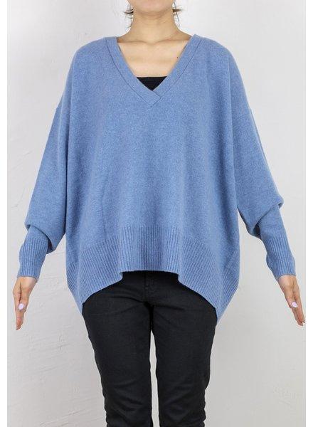 CT Plage Vneck cashmere pullover - Sax