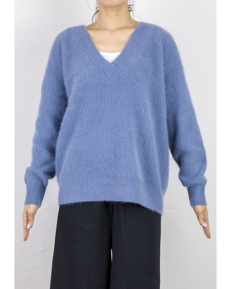 CT Plage Vneck  Raccoon pullover - Sax