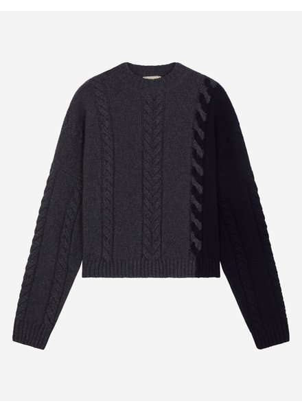 Maison Kitsuné Cable-knit pullover - Grey navy