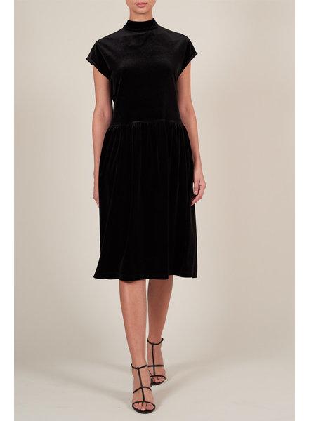 Le Brand Livia Midi Velvet Dress - Black