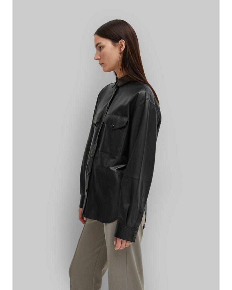 Totême Novella leather shirt - Black