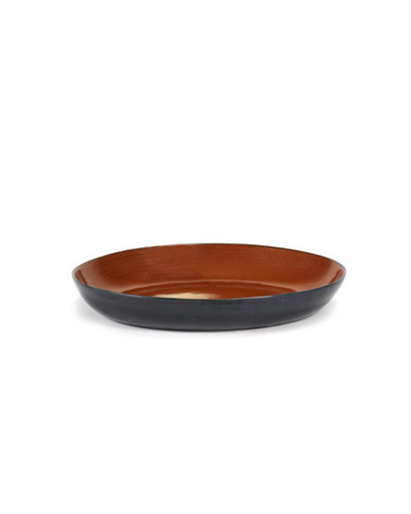 Anita Le Grelle for Serax Serveerschaal Ovaal L38xB32xH6 - Rust/Dark Blue