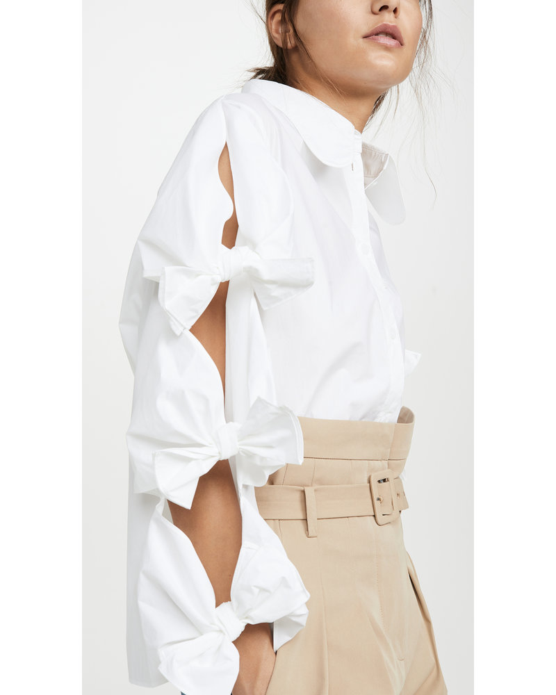 Pushbutton Tie Detailed Shirt - White