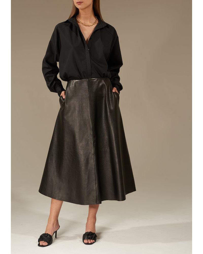 Le Brand Leather midi skirt - Black
