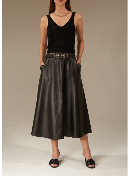 Le Brand Leather midi skirt - Black