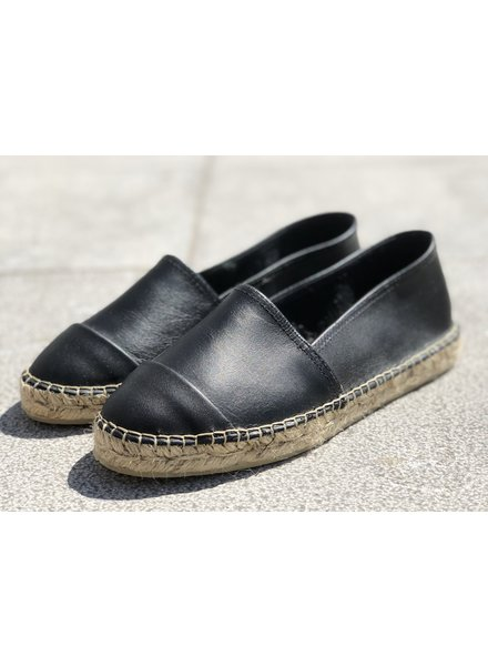N°8 Antwerp Leather flat - Negro