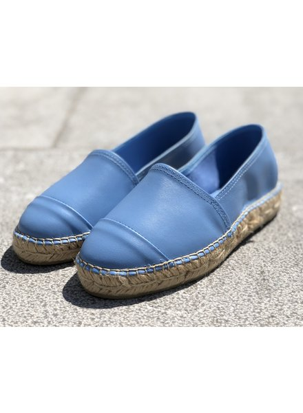 N°8 Antwerp Leather flat - Bleu ciel