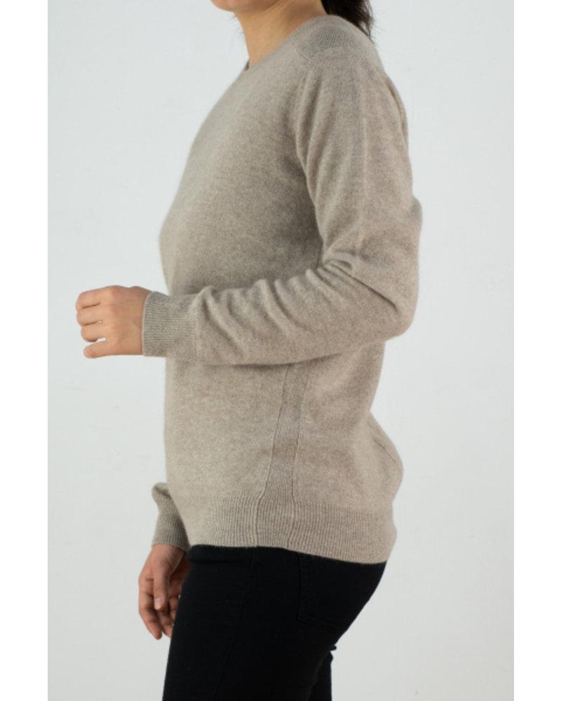CT Plage UNISEX Cashmere round pullover -Beige
