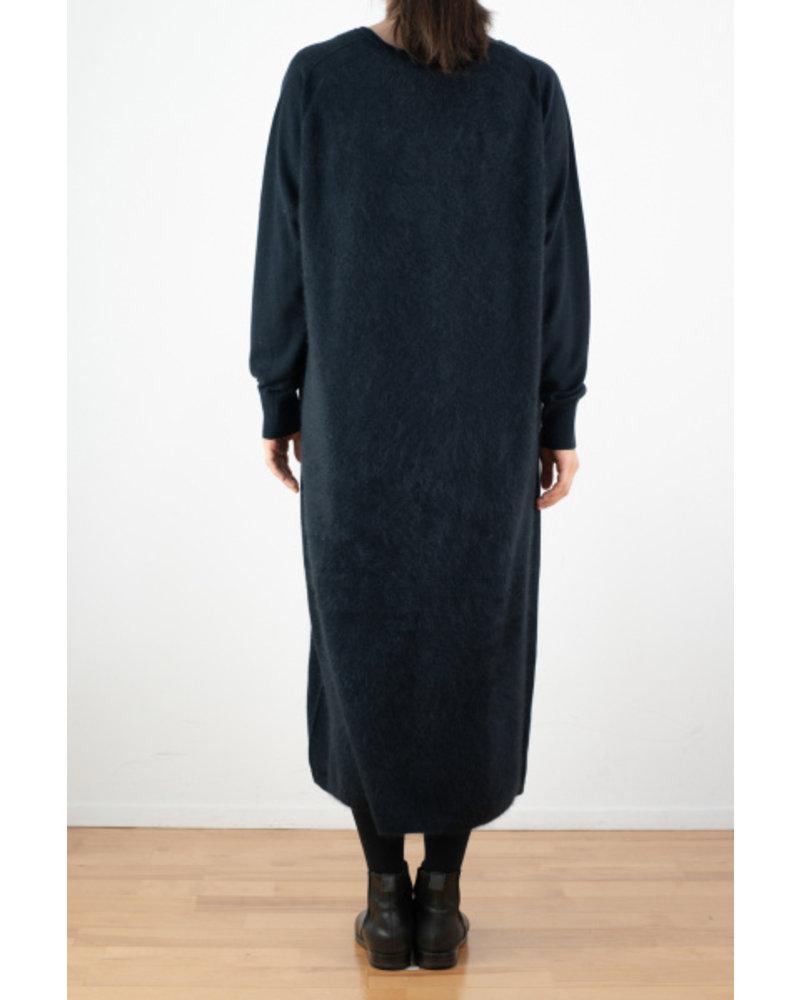 CT Plage V neck raccoon dress - Navy