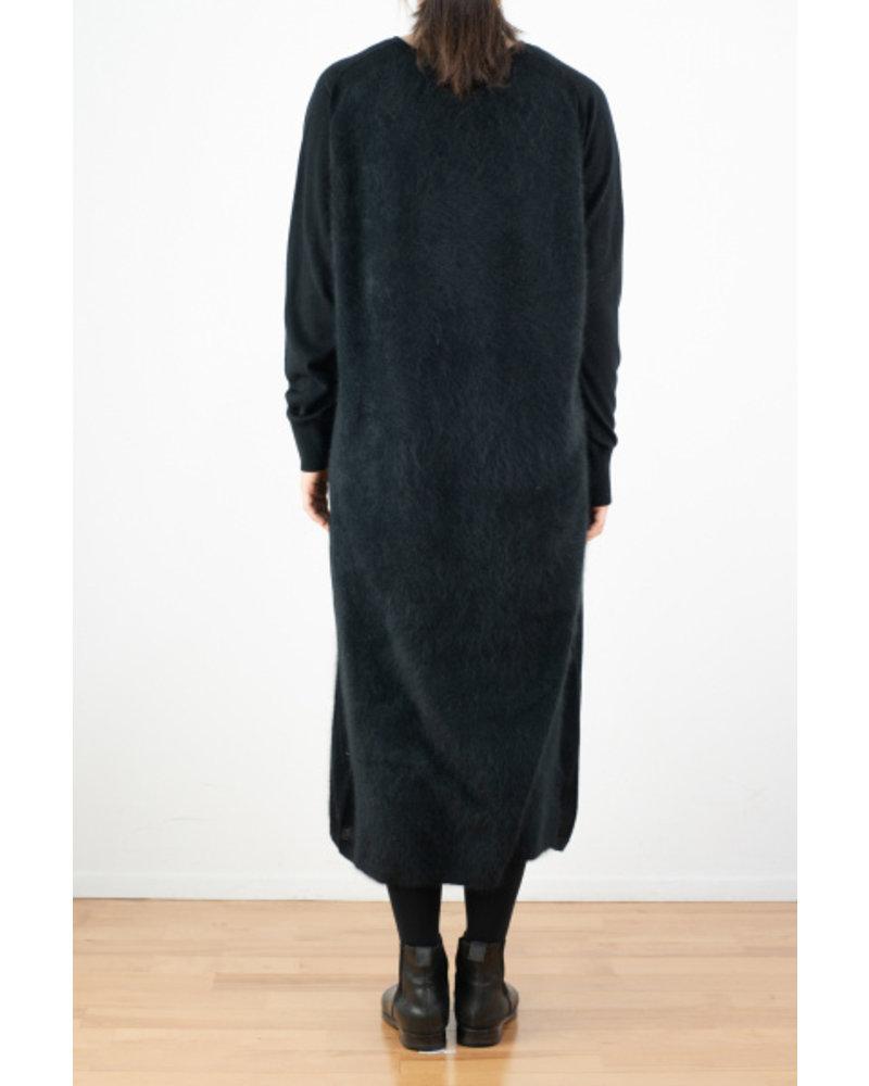 CT Plage V neck raccoon dress - Black