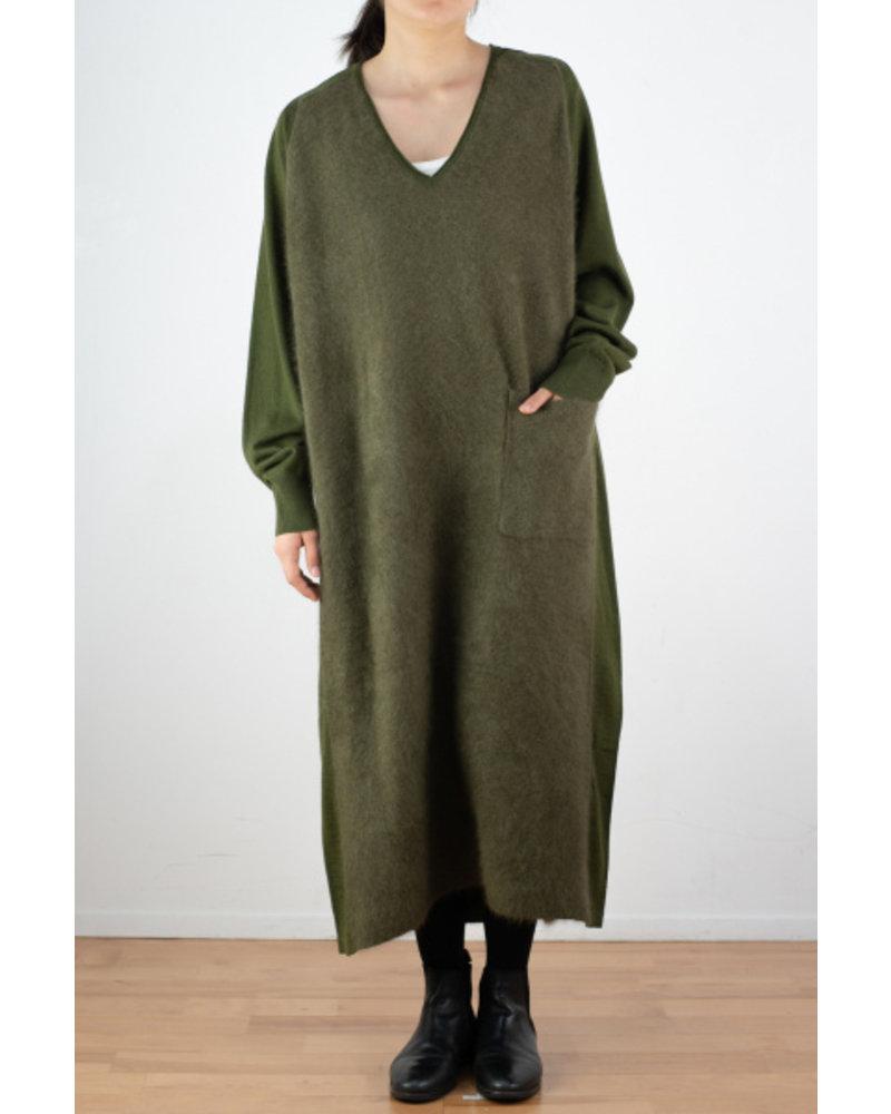 CT Plage V neck raccoon dress - Olive
