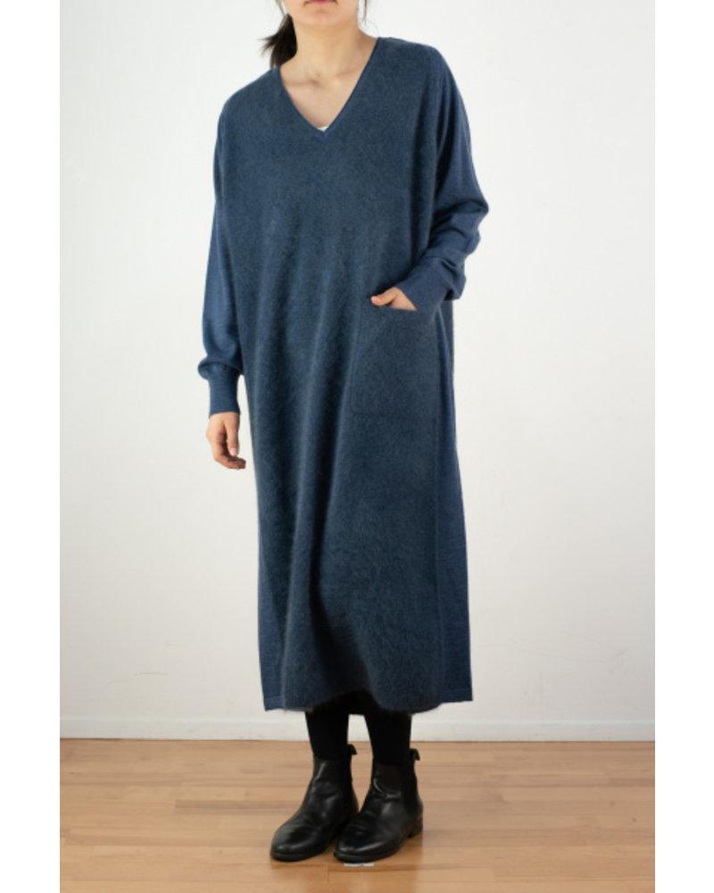 CT Plage V neck raccoon dress - Blue