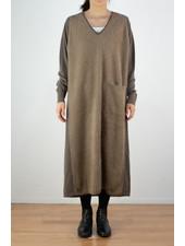 CT Plage V neck raccoon dress - Camel