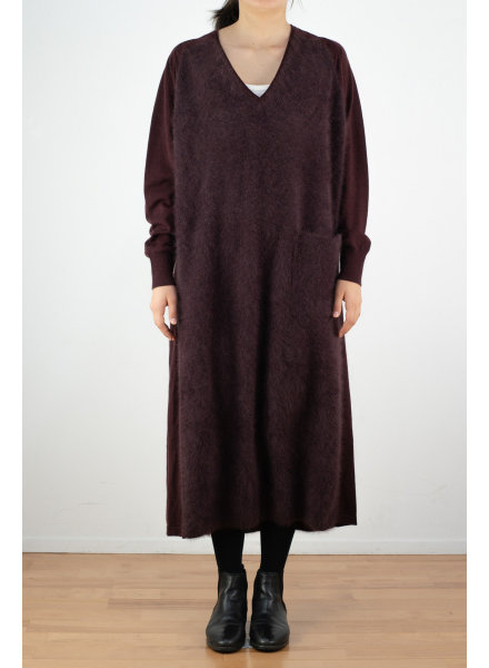 CT Plage V neck raccoon dress - Bordeaux