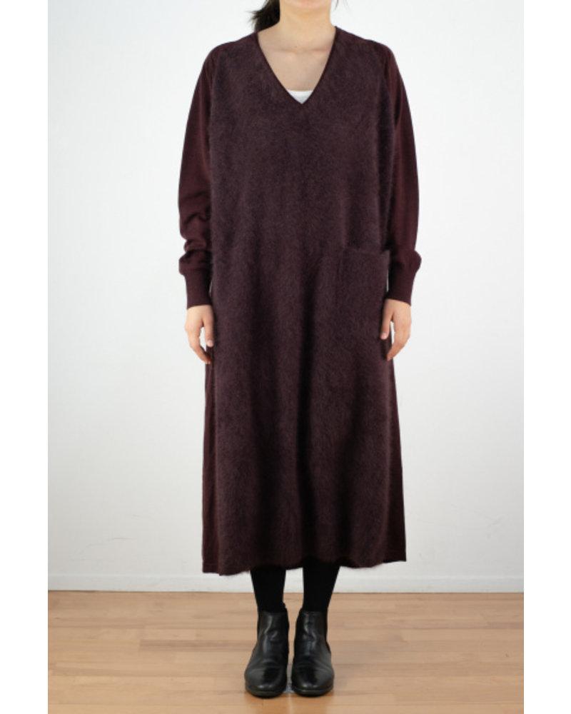 CT Plage V neck dress - Bordeaux