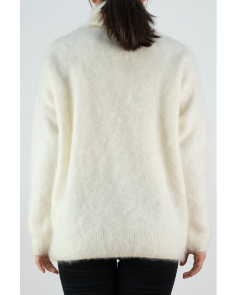 CT Plage Fur cashmere High neck longsleeve - White