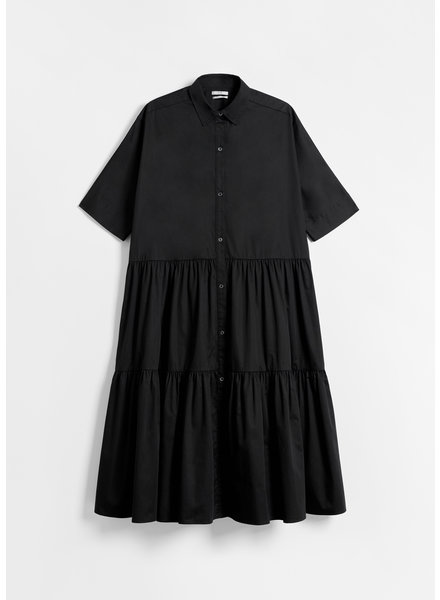CO Short Sleeve Tiered Dress Cotton Poplin - Black