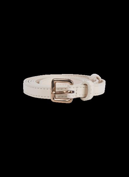 Blossom On Leather Belt - White