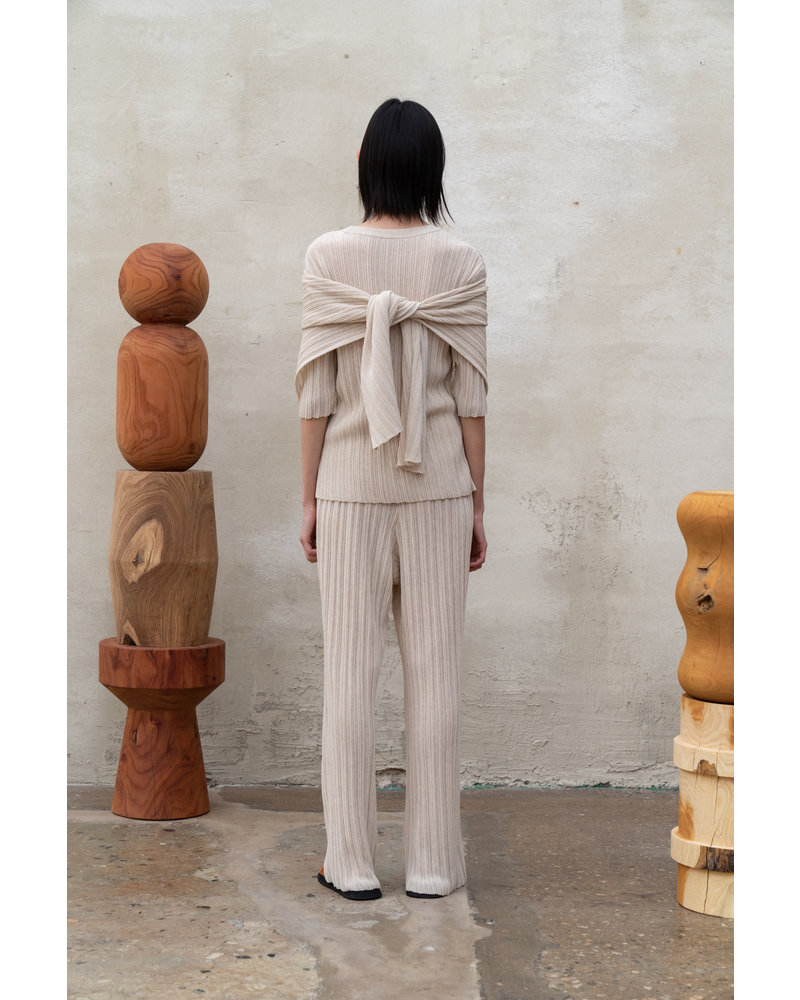 Le 17 Septembre Wrinkle Knit Pants - Beige